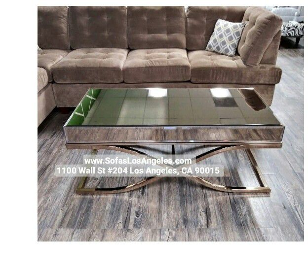 Brass Color Mirrored Living Room Coffee Table Modern Glam