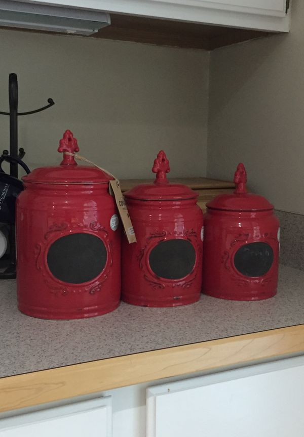 Set of red kitchen canisters for Sale in Pittsboro, NC - OfferUp