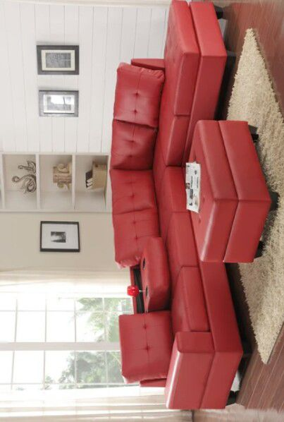 [HOT DEAL] 💫Heights Red Faux Leather Reversible Sectional with Storage 💫Ottoman