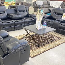 Brand New Black Leather Manual Reclining Sofa Set . $39 Down Payment Foe No Credit Check Financing . We Do Same Day Delivery  Thumbnail