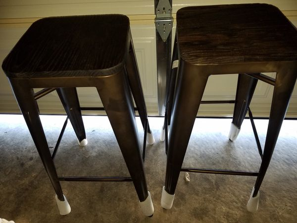 f885541603ec8 Metal Backless Bar Stool with Wood Seat