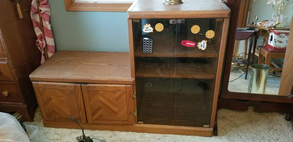 Oak Tv Stand With Glass Doors For Sale In Hillsboro Or Offerup