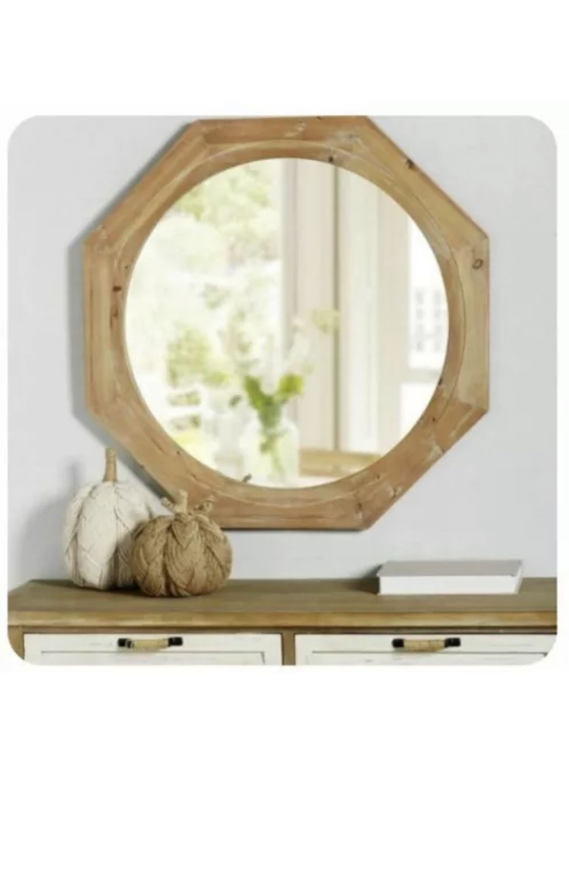 New StyleWell Octagonal Natural Distress Accent Mirror