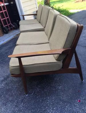 Mid century sectional wood unupholstered sofa couch set loveseat midcentury wood wooden vintage antique mcm frame green for Sale in Cleveland, OH