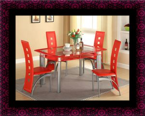 Glass Red dining table with leather chairs for Sale in Laurel, MD