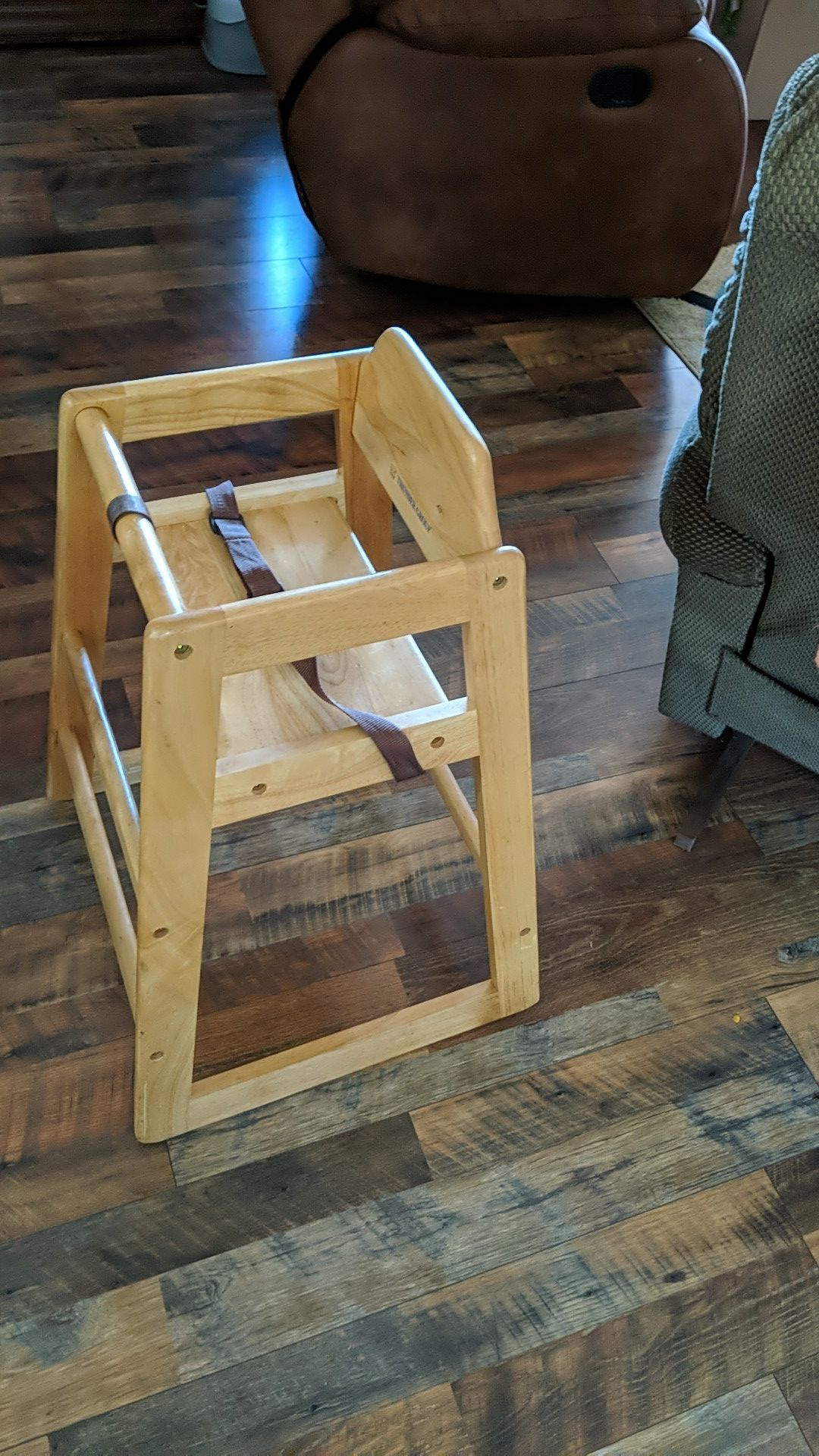 Restaurant Grade Wood High Chair; fits great under dining table