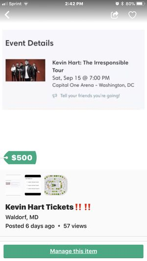 Last minute tickets to Kevin Hart‼️ for Sale in Saint Charles, MD