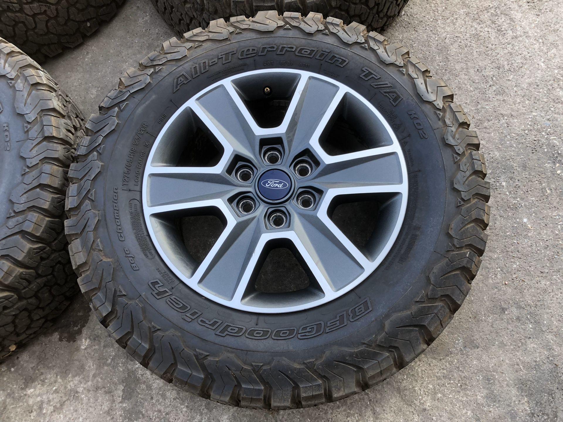 Ford Factory rims and BFG All Terrain KO2 Tires 6 Lug wheels 6x135 Bolt pattern BFGoodrich Ko 2 Rines y llantas 2017 F 150 Expedition 2016 F-150 rine