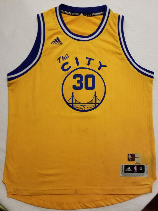 2996dc2e7 Adidas Stephen Curry Golden State Warriors Gold Hardwood Classic Nights  Player Swingman Jersey 1966-1967
