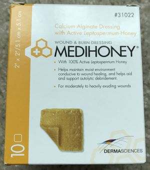 "Box of 7 Derma Sciences MEDIHONEY 2 x 2"" Calcium Alginate Wound & Burn Dressings for Sale in Chicago, IL"