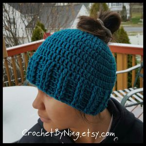 Crochet Messy bun hat/beanie for Sale in Charles Town, WV