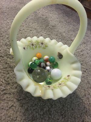 Vaseline Glass Fenton Basket, Dulles w/ Antique & Vintage Marbles morning for Sale in Alexandria, VA