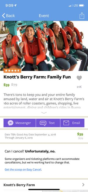Knotts Berry Farm Tickets (2) for Sale in Los Angeles, CA