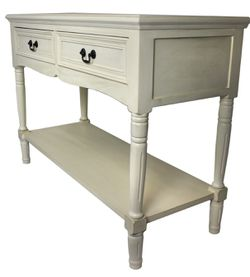 Avila Solid Wood 2-Drawer Console Table, Antiqued White Thumbnail