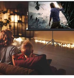 Projector Screen with Stand, Indoor Outdoor PVC Projection Screen 4K HD 100'' 16: 9 Wrinkle-Free Design(Easy to Clean, 1.1Gain, 160° Viewing Angle & I Thumbnail