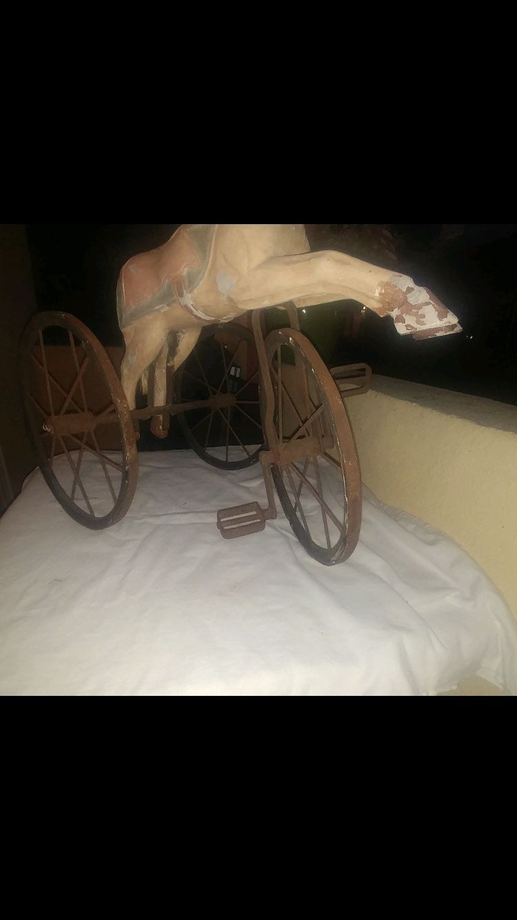 Antique hand carved wood horse tricycle