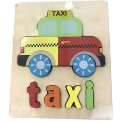 Educational Wood Letter Puzzle (Taxi) Thumbnail