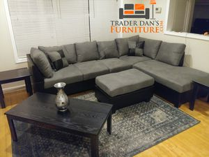 Brand New Grey Microfiber Sectional Sofa Couch + Ottoman for Sale in Silver Spring, MD