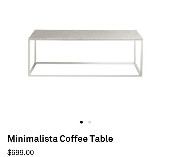Minimalista Coffee Table New In Box Sliver With White Marble Top For - Minimalista coffee table