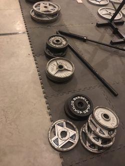 Plates, barbells, squat stand Thumbnail