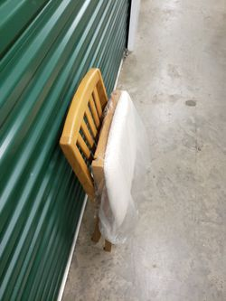 Wood folding chair with cushion seat beige oak Thumbnail