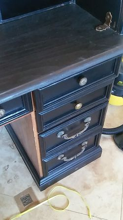 Black roll top oak desk with lamp Thumbnail
