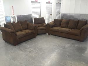 Free delivery Brown sofa set 3 piece for Sale in Washington, DC