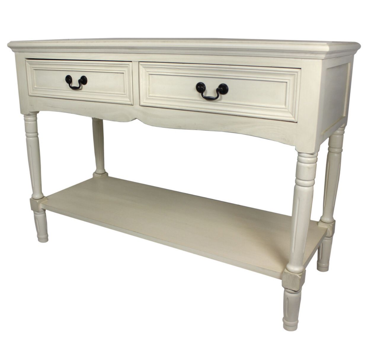 Avila Solid Wood 2-Drawer Console Table, Antiqued White