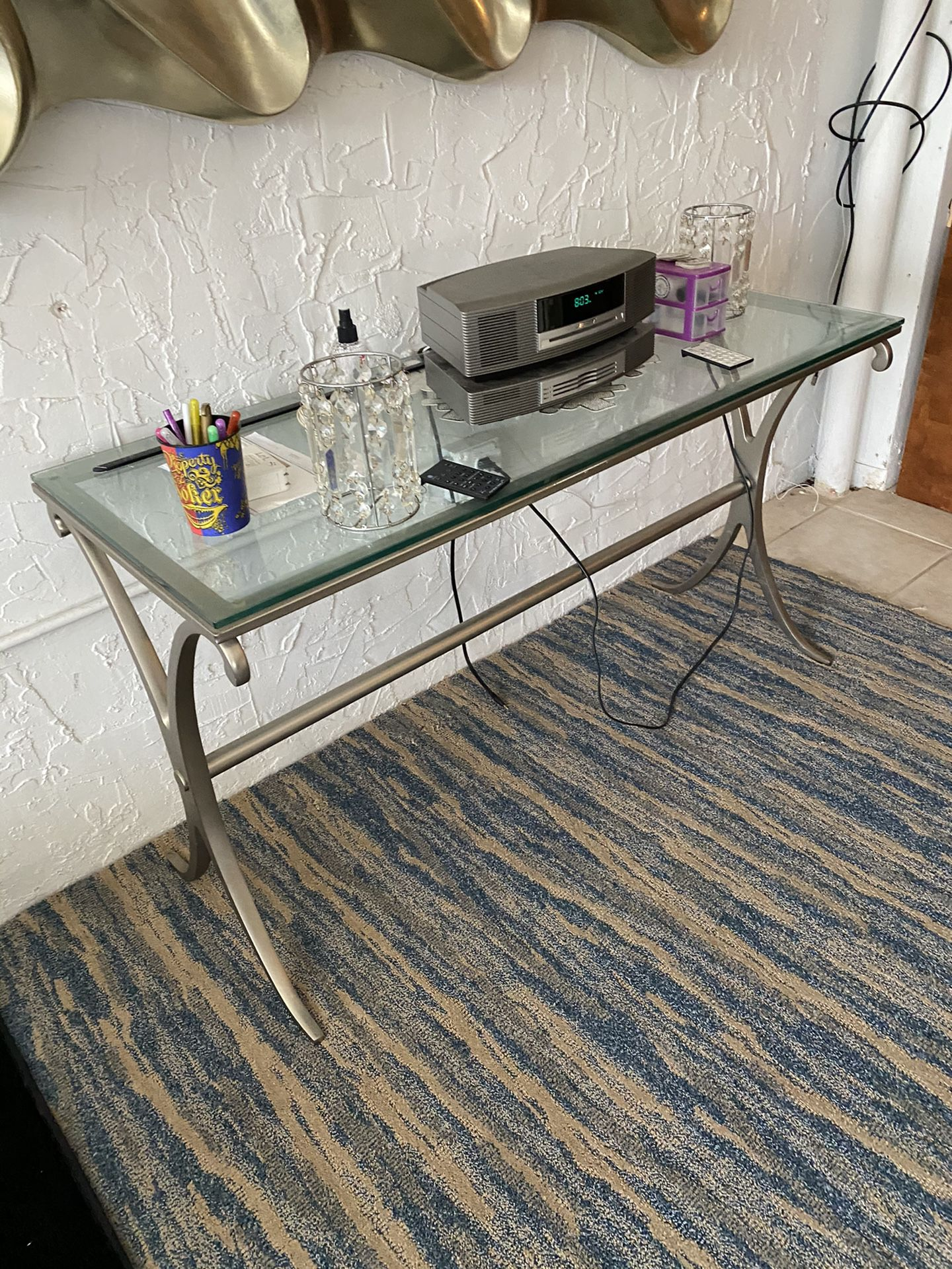 Furniture wall unit in good condition also dining room glass table with six chairs and three glass tables 500 cash