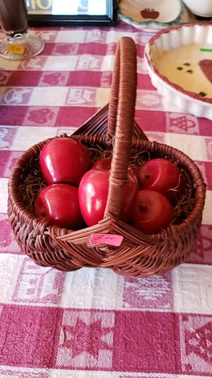 Basket with wooden apples for Sale in Farmville, VA