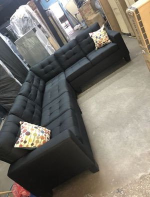 Brand New Large Black Linen Sectional Sofa Couch for Sale in Silver Spring, MD