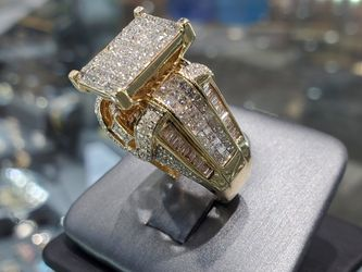 14K Gold with Diamond Ring, 5.0 ct, Princess Cut, Baguettes, Round Diamonds, Solid and Heavy, Unique, Beautiful, Elegant Thumbnail