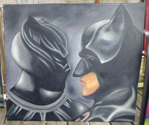 Stretched Black Panther vs Batman canvas painting #1 for Sale in Washington, DC