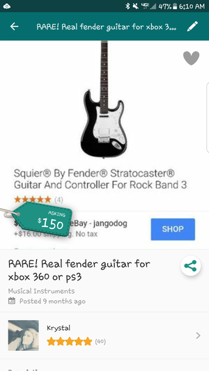 Real fender for rockband 3 (not buttons) for Sale in WA, US