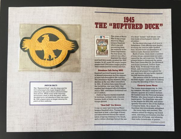 """1945 The """"Ruptured Duck"""" - Official MLB Cloth Embroidered Patch -  Cooperstown Collection 125 Years Of Official Baseball Patches - By Willabee  &"""