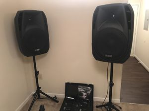for sale urgently set 2 speakers amplified DJ mixer microphone and headphones for Sale in Annandale, VA