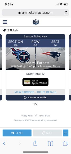 2 tickets to the Patriots vs Titans game on 11/11 for Sale in Nashville, TN