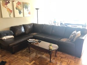 Brown leather sectional L couch for Sale in Washington, DC
