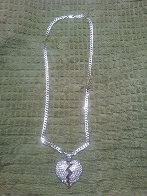 Photo 24 inch real Italy 925 silver link chain with large stainless steel CZ heart. 190 Obo
