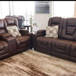 ⭐ Owners Box Thyme Power Reclining Living Room Set Sofa Loveseat.  Delivery Available  Thumbnail