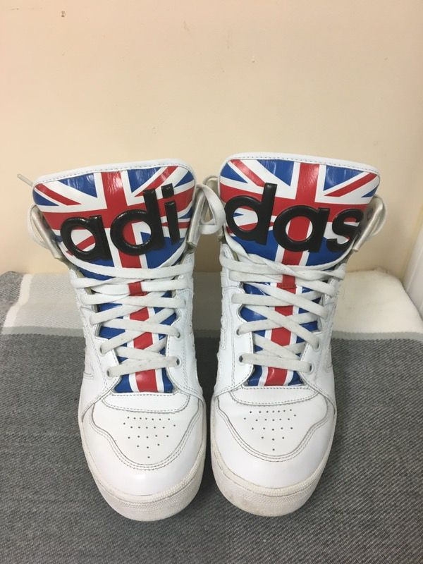 868ca74da5cdf  268 Adidas Jeremy Scott Instinct UU England Flag Men US size 9.5 shoe