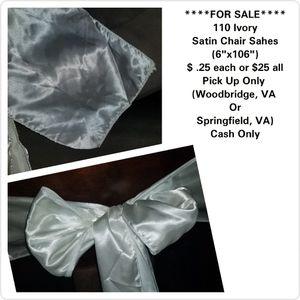 Ivory Satin Chair Sash for Sale in Woodbridge, VA