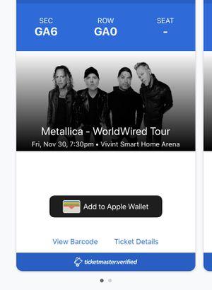 Metallica *GA FLOOR* ticket! for Sale in Sandy, UT