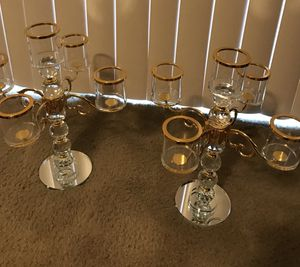 """Set of 2 stunning centerpiece 15"""" crystal glass mirror gold trimmed candle holder check out my other items on this page message me if you interested for Sale in Gaithersburg, MD"""