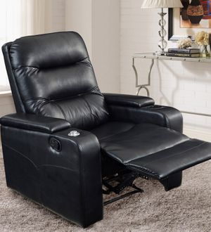Photo New!! recliner, reclinnig chair, faux leather theater recliner w USB and cup holders, recliner chair, relaxing chair, relaxing TV chair, living room