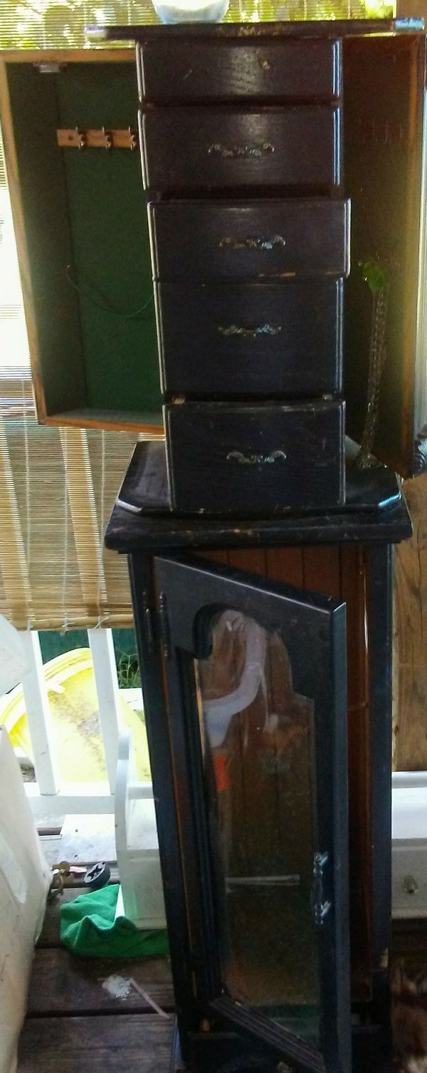 Antique jewelry hutch with side doors drawers and glass door (Antiques) in  Spring Lake - Side Door Antiques Antique Furniture
