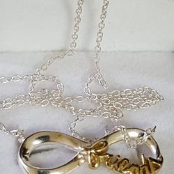 """Beautiful 925 Sterling Silver Italy necklace.  Pendant is covered in 10k GOLD, 2.29grs size 18""""inches long. (FRIENDS) please see pictures for details Thumbnail"""