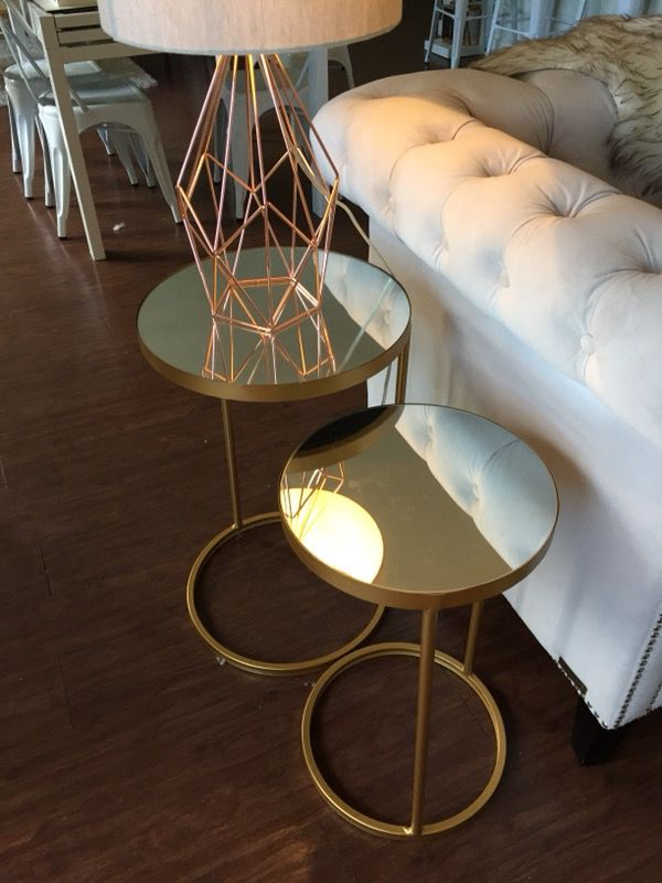 Round Nesting Mirror End Tables