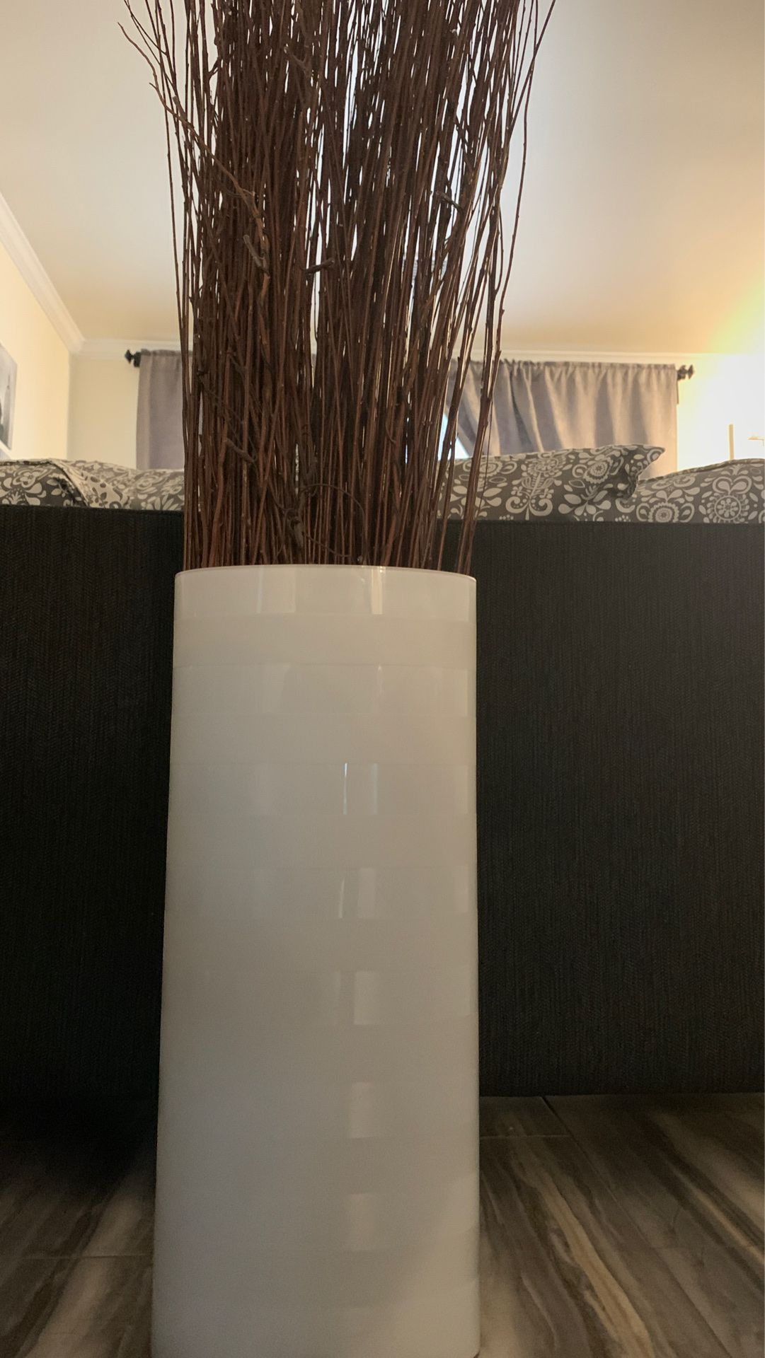 White glass vase with branches