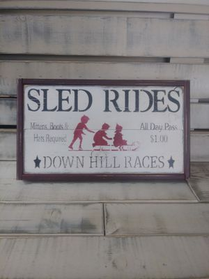 Winter wooden sign sled rides large for Sale in Philadelphia, PA
